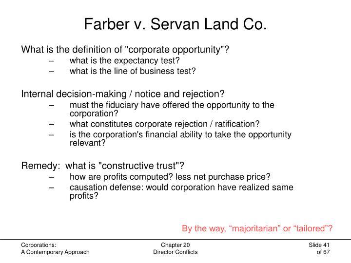 Farber v. Servan Land Co.