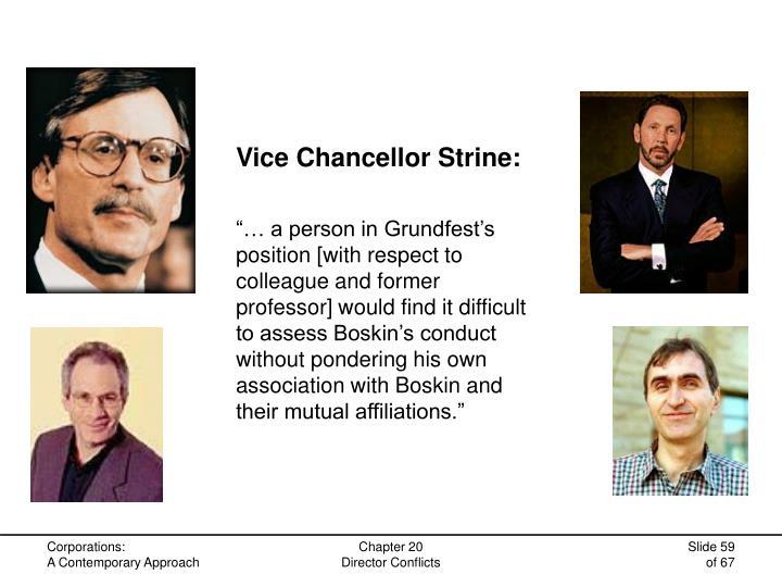 Vice Chancellor Strine: