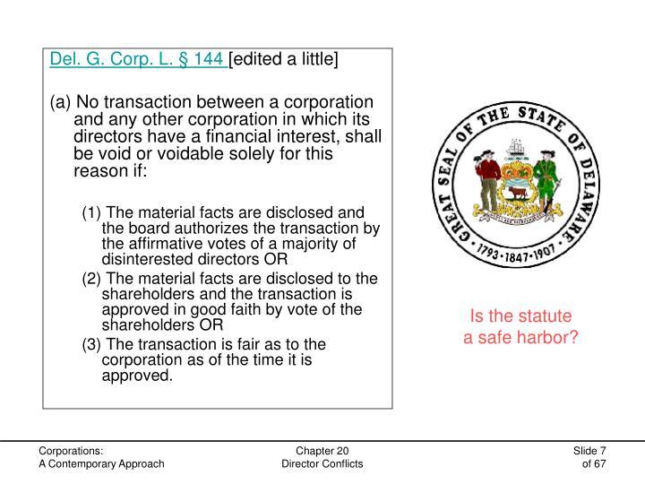 Del. G. Corp. L. § 144