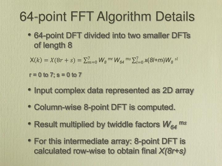 64-point FFT Algorithm Details