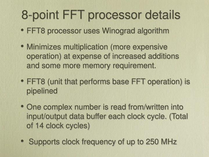 8-point FFT processor details