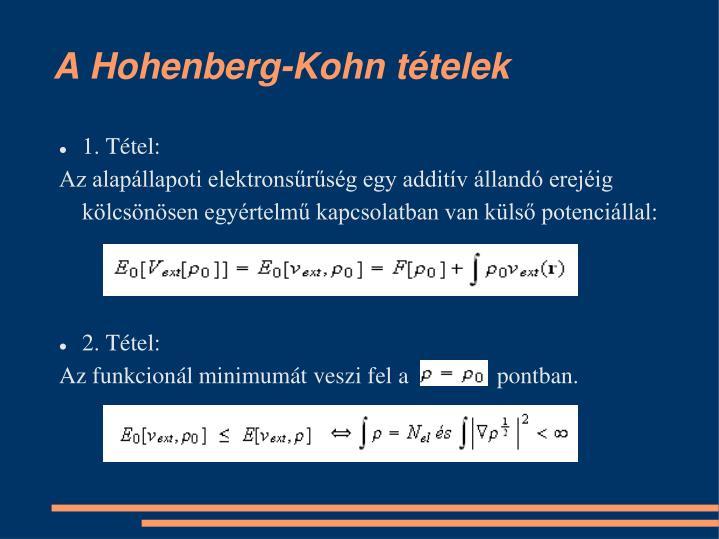 A Hohenberg-Kohn tételek