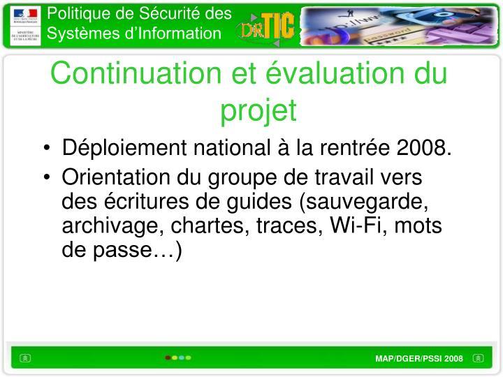 Continuation et évaluation du projet