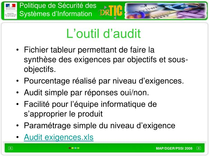 L'outil d'audit