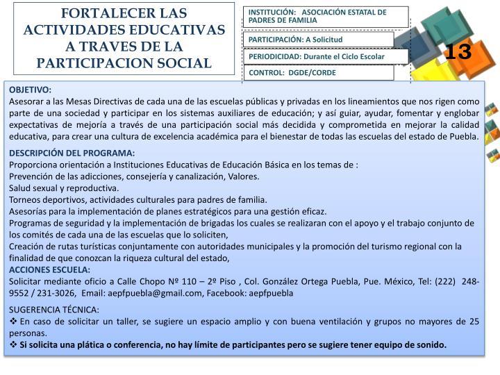 FORTALECER LAS ACTIVIDADES EDUCATIVAS A TRAVES DE LA PARTICIPACION SOCIAL