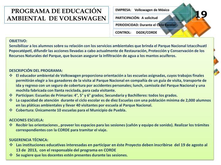 PROGRAMA DE EDUCACIÓN  AMBIENTAL  DE