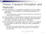 photon transport simulation and radiosity12