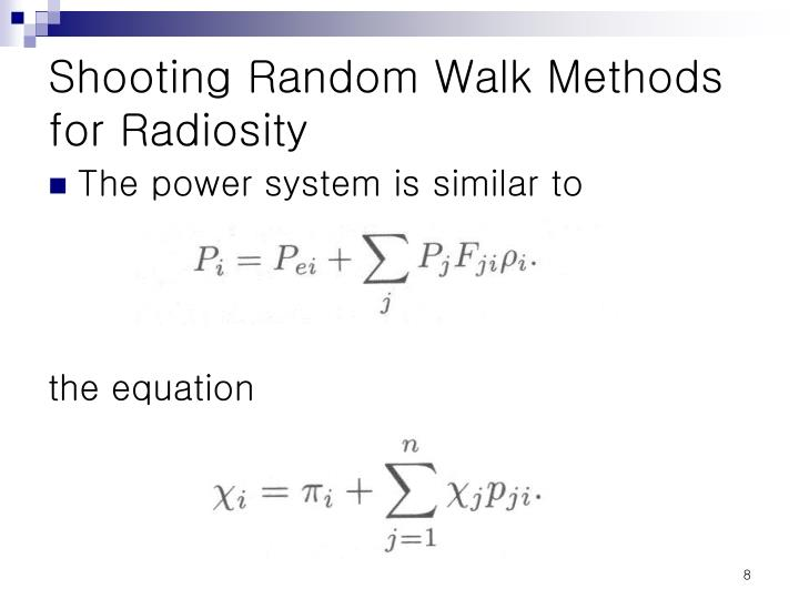 Shooting Random Walk Methods for Radiosity