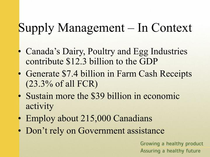 Options for the reform of supply management in canada with trade liberalization