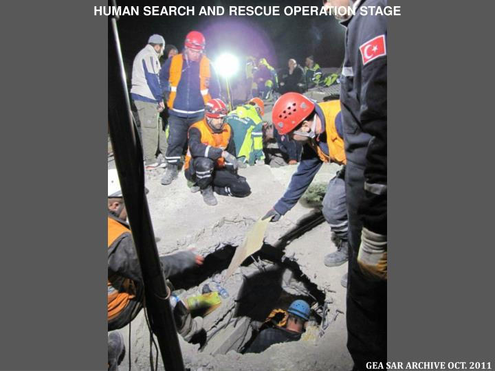 HUMAN SEARCH AND RESCUE OPERATION STAGE