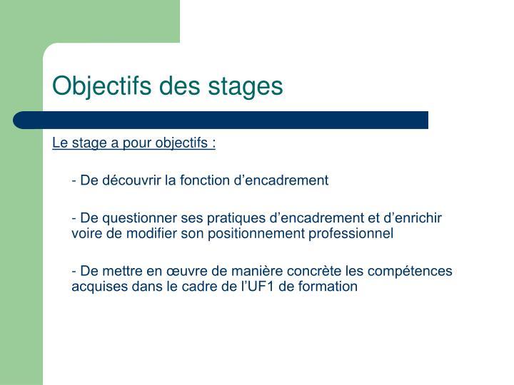 Objectifs des stages