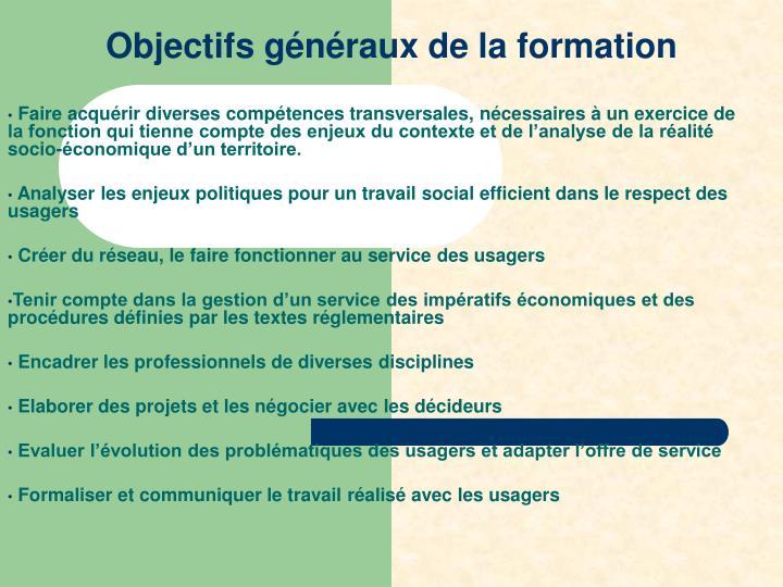 Objectifs généraux de la formation