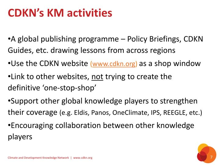 CDKN's KM activities