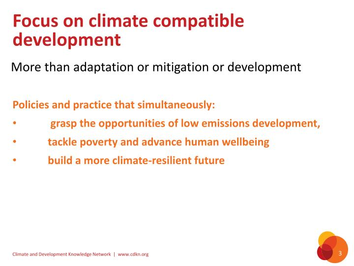 Focus on climate compatible development
