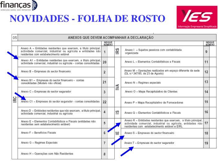 NOVIDADES - FOLHA DE ROSTO