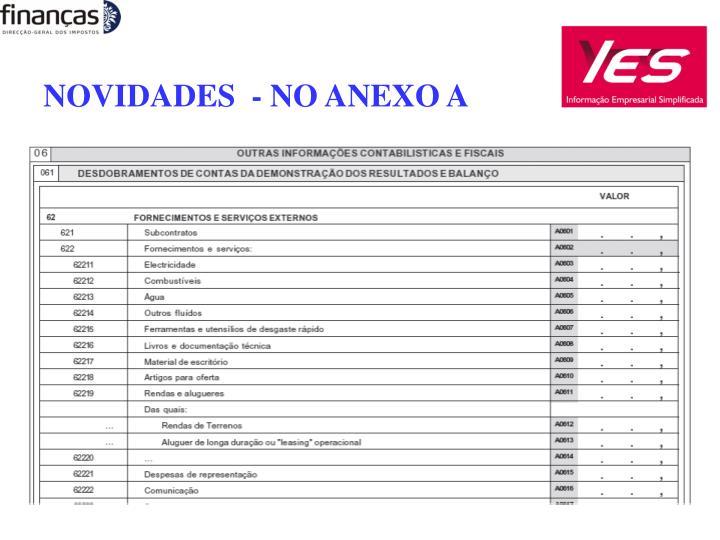 NOVIDADES  - NO ANEXO A