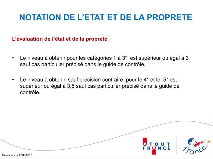 NOTATION DE L'ETAT ET DE LA PROPRETE