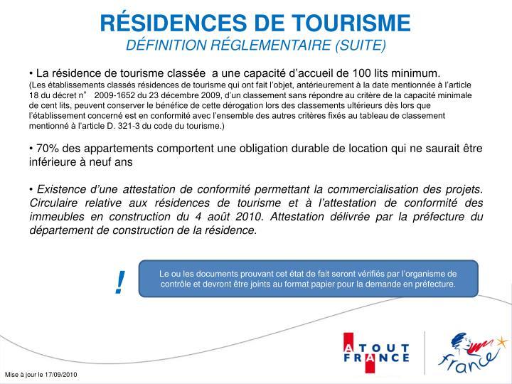 RÉSIDENCES DE TOURISME