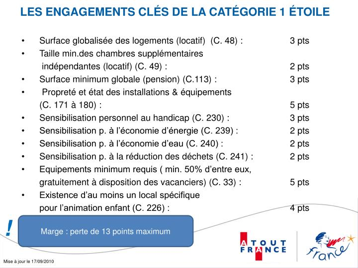 LES ENGAGEMENTS CLÉS DE LA CATÉGORIE 1 ÉTOILE