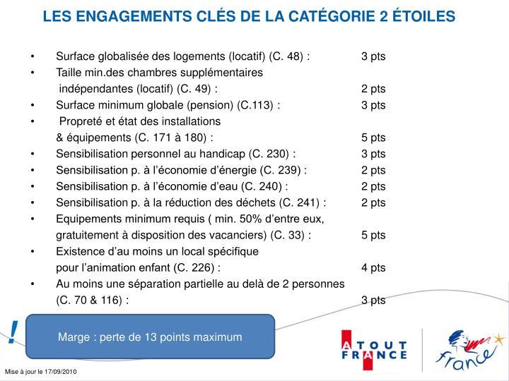 LES ENGAGEMENTS CLÉS DE LA CATÉGORIE 2 ÉTOILES