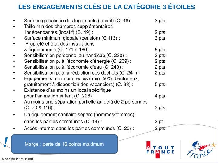 LES ENGAGEMENTS CLÉS DE LA CATÉGORIE 3 ÉTOILES