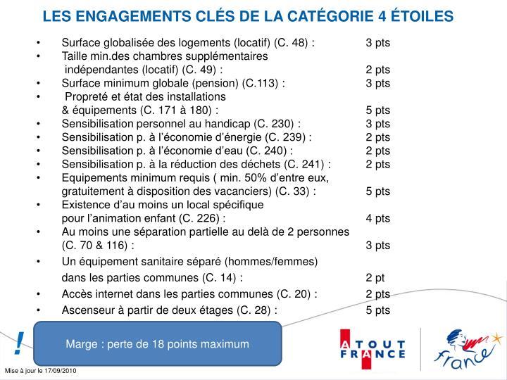 LES ENGAGEMENTS CLÉS DE LA CATÉGORIE 4 ÉTOILES