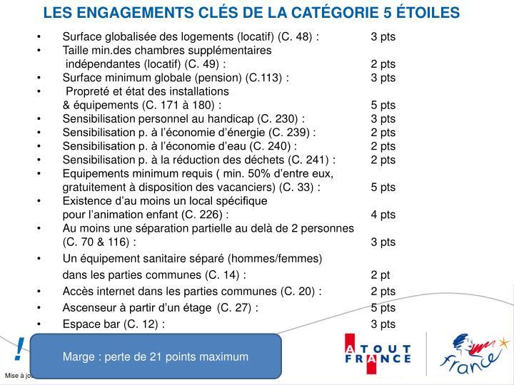 LES ENGAGEMENTS CLÉS DE LA CATÉGORIE 5 ÉTOILES