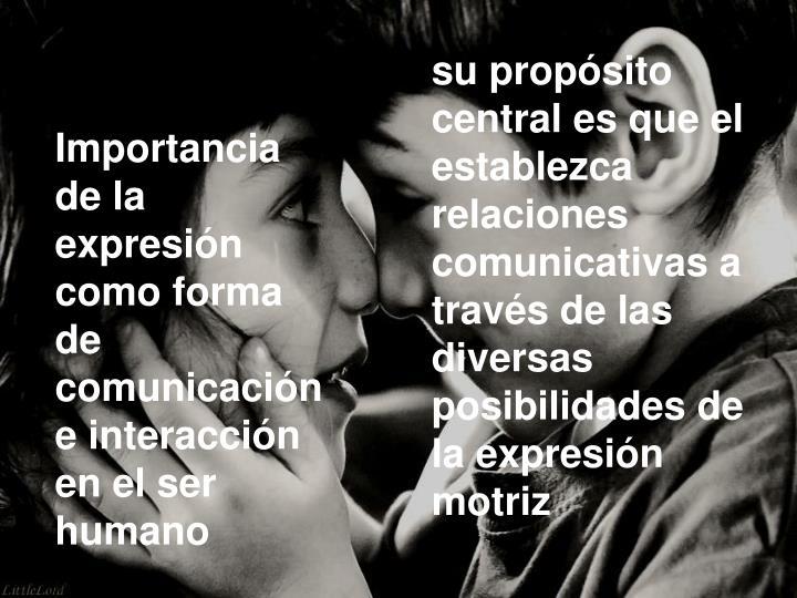 su propósito central es que el establezca relaciones comunicativas a través de las diversas posibilidades de la expresión motriz
