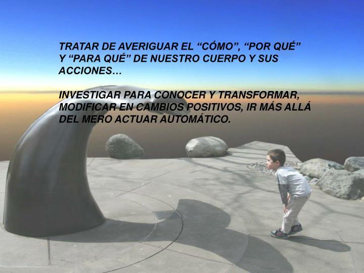 """TRATAR DE AVERIGUAR EL """"CÓMO"""", """"POR QUÉ"""""""