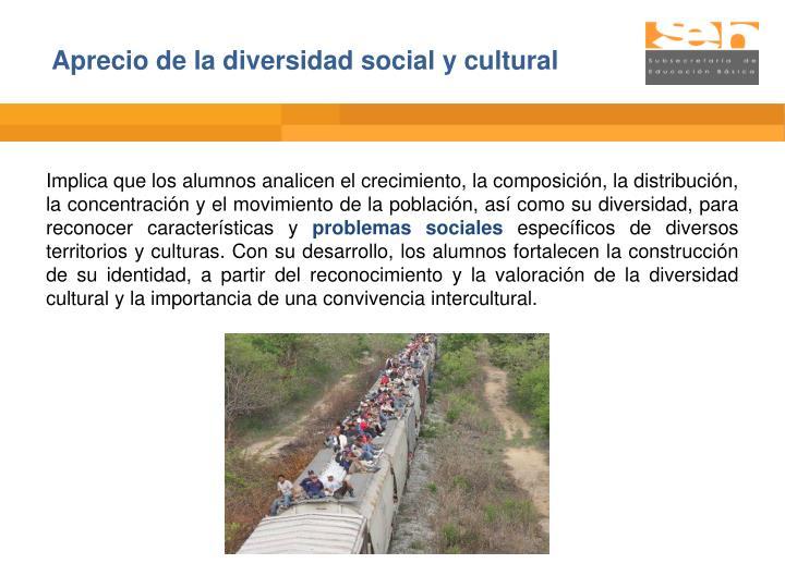 Aprecio de la diversidad social y cultural