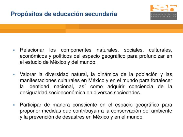 Propósitos de educación secundaria