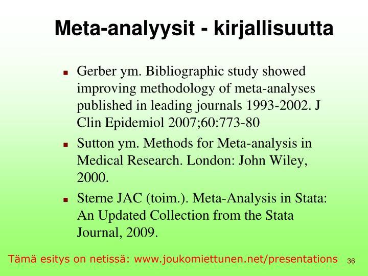 Meta-analyysit - kirjallisuutta