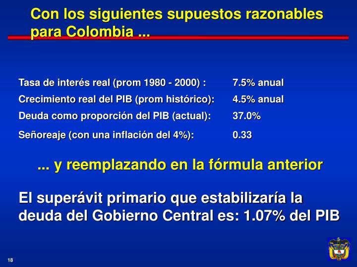 Con los siguientes supuestos razonables para Colombia ...