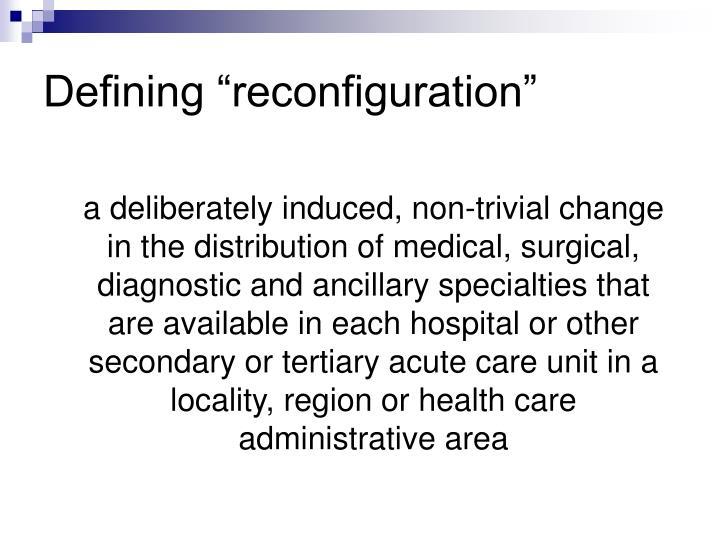 "Defining ""reconfiguration"""