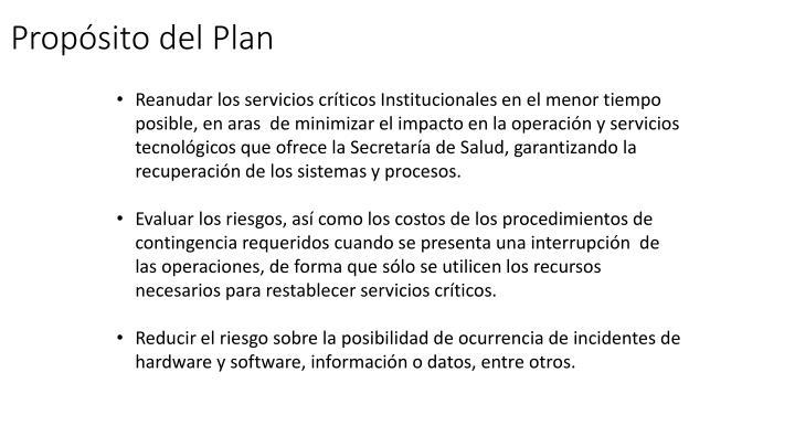 Propósito del Plan