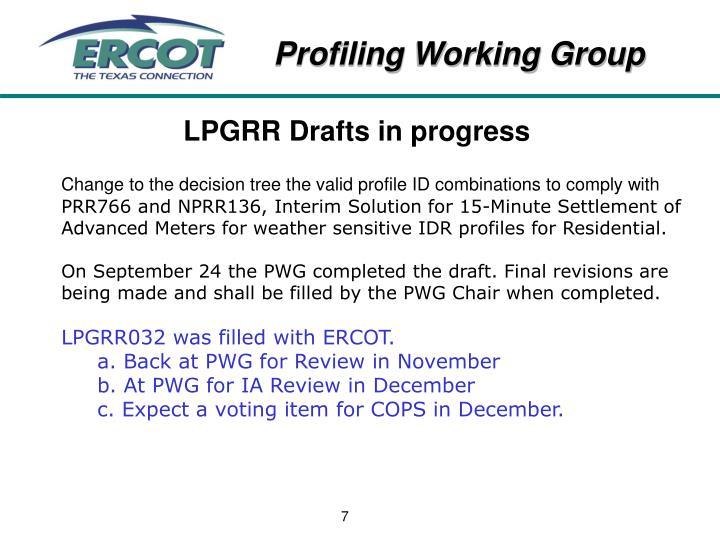 LPGRR Drafts in progress