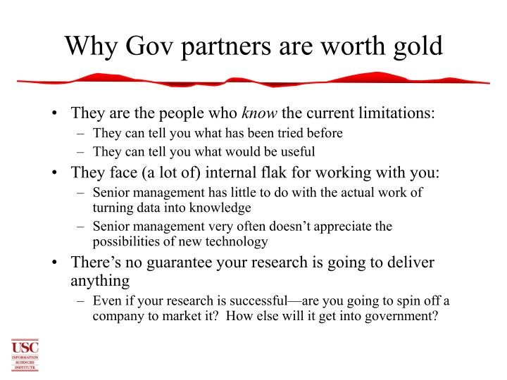Why Gov partners are worth gold