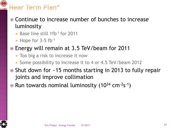 Near Term Plan*