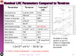 nominal lhc parameters compared to tevatron