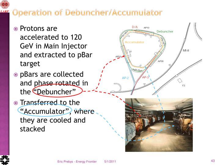 Operation of Debuncher/Accumulator