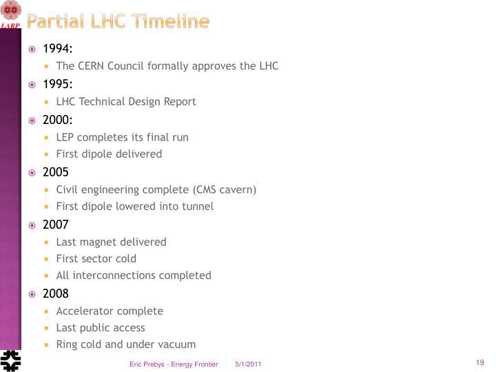 Partial LHC Timeline