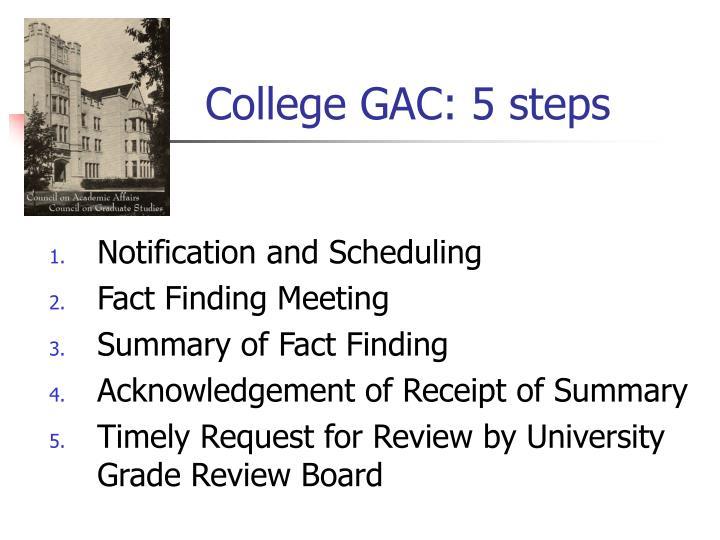 College GAC: 5 steps