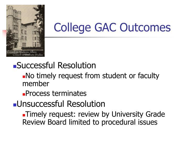 College GAC Outcomes