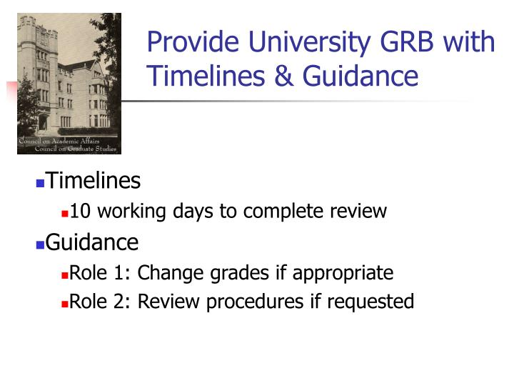 Provide University GRB with Timelines & Guidance