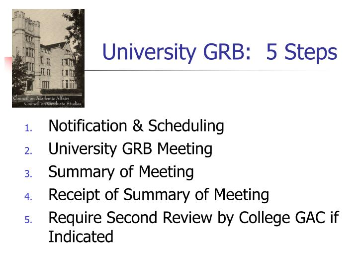 University GRB:  5 Steps