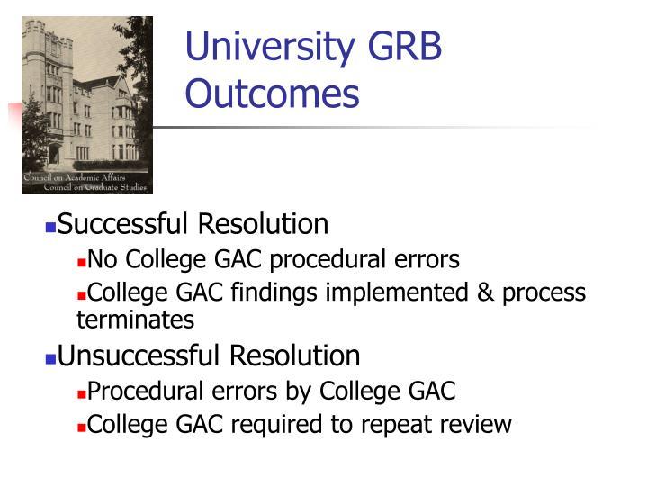 University GRB Outcomes