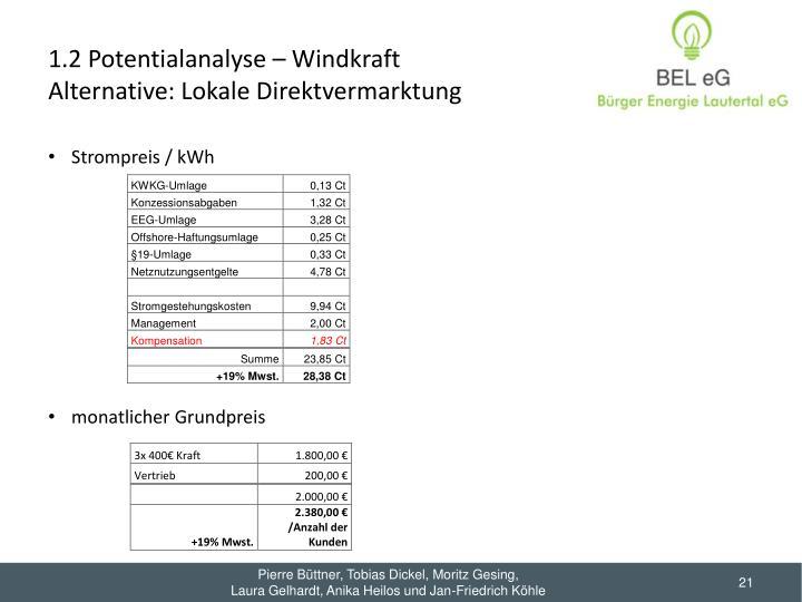 1.2 Potentialanalyse – Windkraft