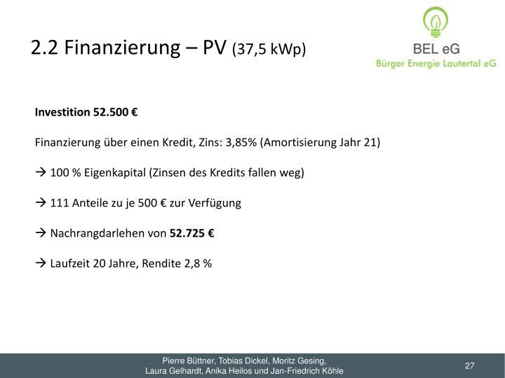 2.2 Finanzierung – PV