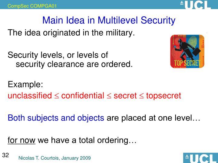 Main Idea in Multilevel Security