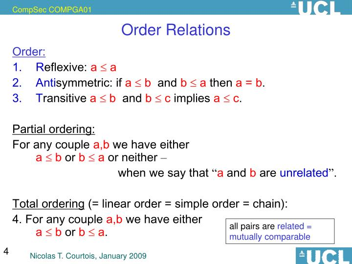 Order Relations